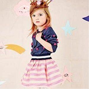 Billieblush Mesh Neon Striped Mini Skirt